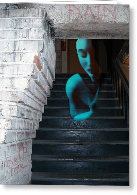 Emotional Pain Greeting Cards - Ghost of Pain - Self Portrait Greeting Card by Jaeda DeWalt