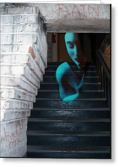 Ghost Of Pain - Self Portrait Greeting Card by Jaeda DeWalt