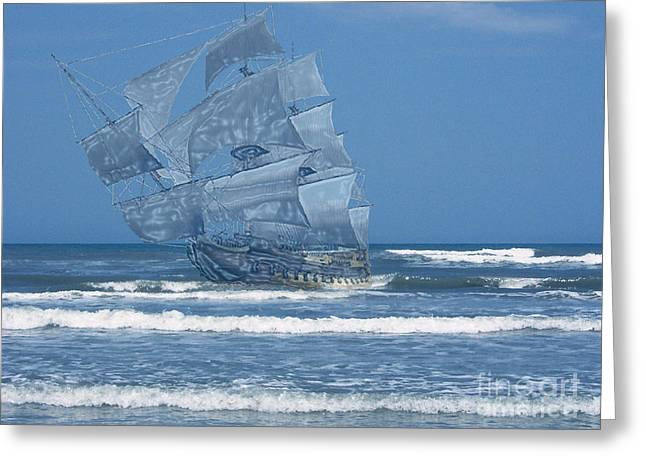 Ghost Of The 1715 Treasure Fleet Greeting Card by D Hackett