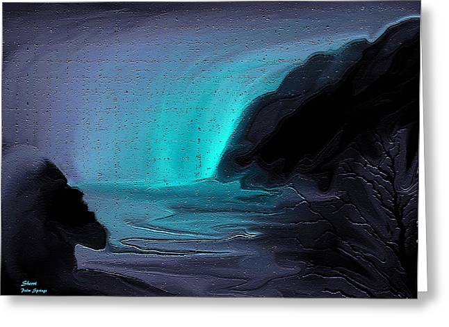 Sherri Painting Greeting Card featuring the digital art Ghost Of The Waterfall by Sherri  Of Palm Springs