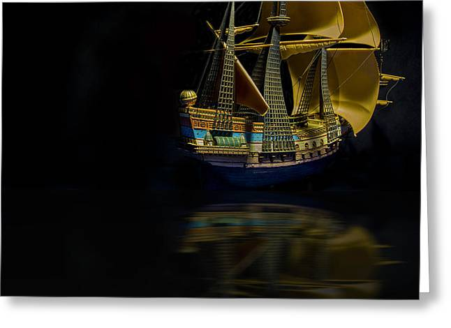 Sea Moon Full Moon Greeting Cards - Ghost Ship Color Greeting Card by Robert Storost