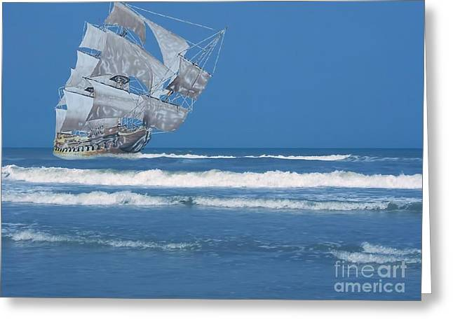 Coins Greeting Cards - Ghost Ship On The Treasure Coast Greeting Card by D Hackett