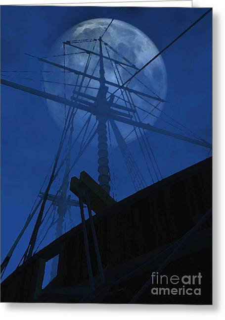 Masts Mixed Media Greeting Cards - Ghost Ship Greeting Card by Richard Rizzo