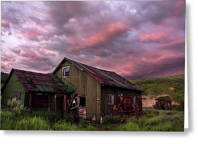 Wooden Building Greeting Cards - Ghost Town Sunset 1 Greeting Card by Dave Dilli