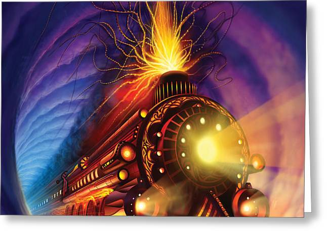 Ghost Train Greeting Card by Philip Straub