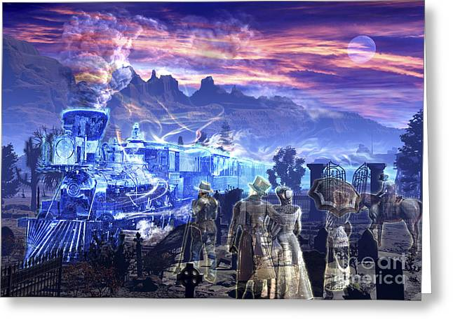 Headstones Digital Art Greeting Cards - Ghost Train Picking Up Some Ghosts Greeting Card by Kurt Miller