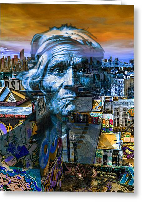 Art Of Building Mixed Media Greeting Cards - Ghost Tribe Native Americans in New York Blue Greeting Card by Tony Rubino