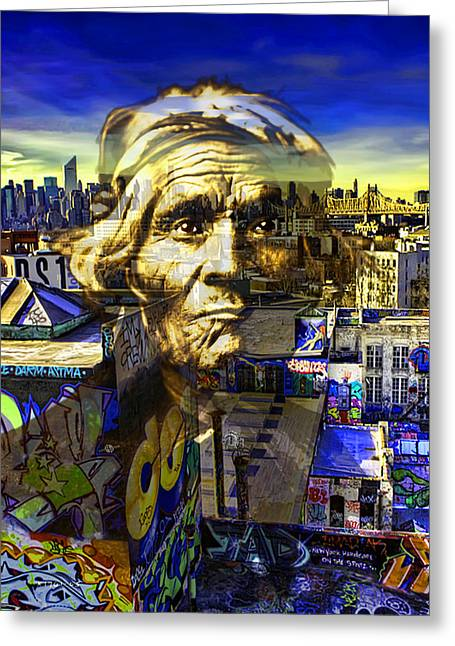 Art Of Building Mixed Media Greeting Cards - Ghost Tribe Native Americans in New York Yellow Greeting Card by Tony Rubino