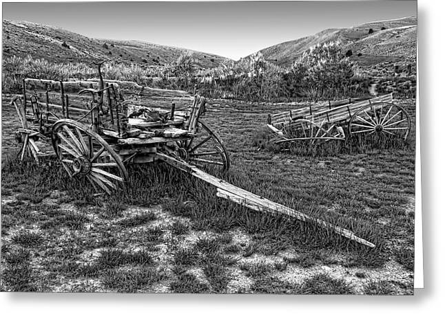 Horse And Cart Greeting Cards - GHOST WAGONS of BANNACK MONTANA Greeting Card by Daniel Hagerman