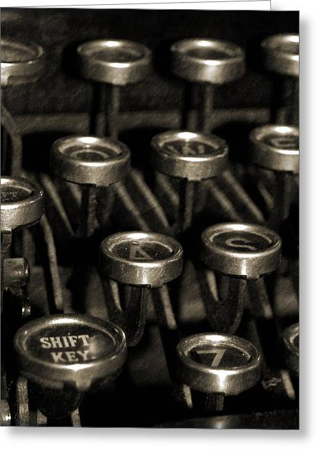Typewriter Greeting Cards - Ghost Writers In The Sky Greeting Card by Everett Bowers