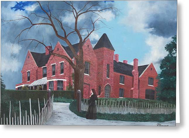 """haunted House"" Paintings Greeting Cards - Ghostly Nun of Borley Rectory Greeting Card by Barbara Barber"
