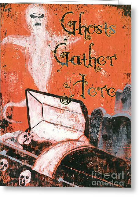 Grave Greeting Cards - Ghosts Gather Here Greeting Card by Debbie DeWitt