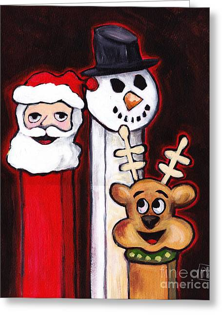 Pez Greeting Cards - Ghosts of Christmas PEZ Greeting Card by Robin Wiesneth