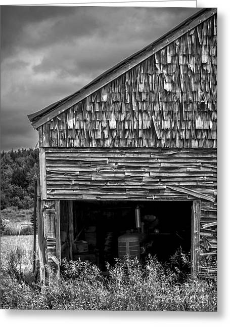 Barn Door Greeting Cards - Ghosts of Farmings Past 2 - BW Greeting Card by James Aiken