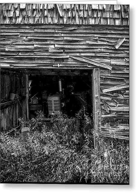 Barn Door Greeting Cards - Ghosts of Farmings Past 3 - BW Greeting Card by James Aiken
