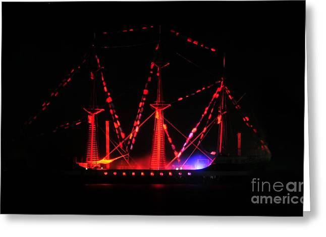 Pirate Ships Photographs Greeting Cards - Ghosts of Gasparilla Greeting Card by David Lee Thompson