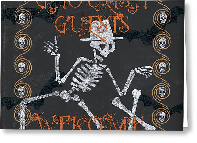 Ghoulish Guests Welcome Greeting Card by Debbie DeWitt