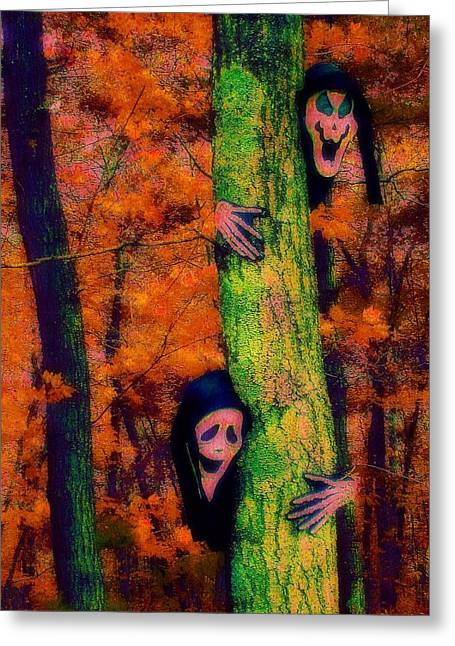Halloween Scene Greeting Cards - Ghouls at Play Greeting Card by Jen White
