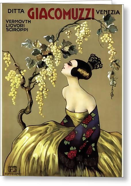 Giacomuzzi Italian Vintage Wine  C. 1900 Greeting Card by Daniel Hagerman