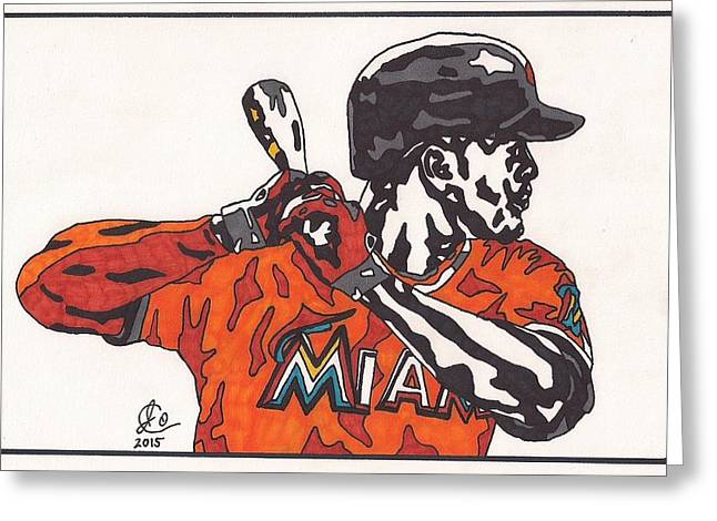 Baseball Art Greeting Cards - Giancarlo Stanton Greeting Card by Jeremiah Colley