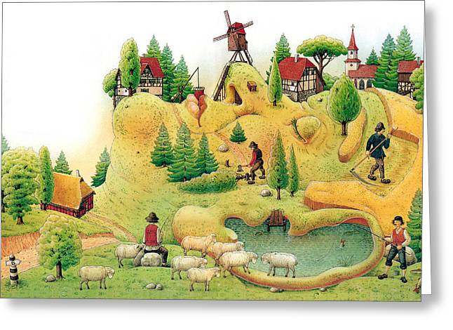 Giant Trees Greeting Cards - Giant Landscape Greeting Card by Kestutis Kasparavicius