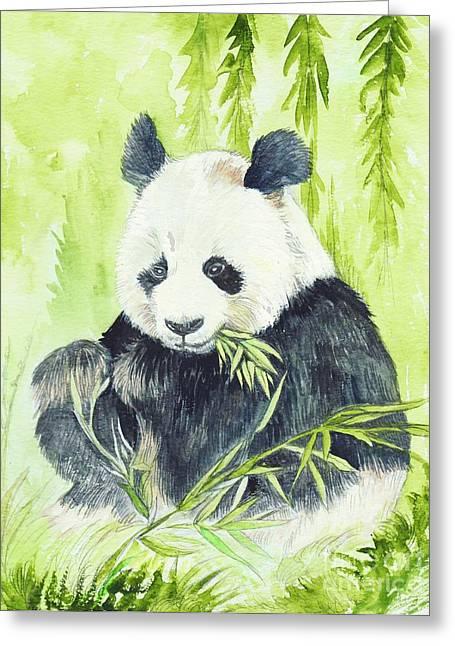 Central Mixed Media Greeting Cards - Giant Panda Greeting Card by Morgan Fitzsimons