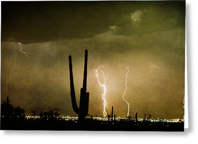 Giant Saguaro Southwest Lightning  Peace Out  Greeting Card by James BO  Insogna