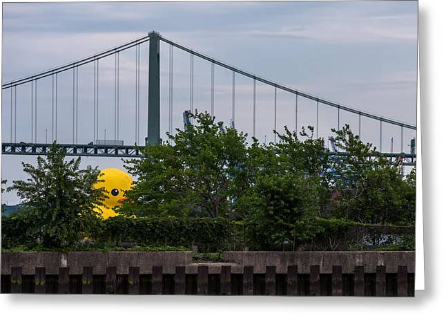Toy Boat Greeting Cards - Giant Yellow Duck Walt Whitman Bridge Philly Greeting Card by Terry DeLuco
