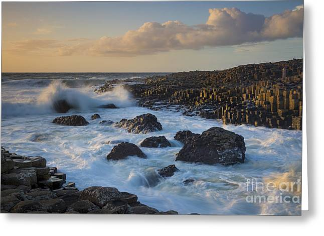 Colorful Cloud Formations Greeting Cards - Giants Causeway Evening Greeting Card by Brian Jannsen