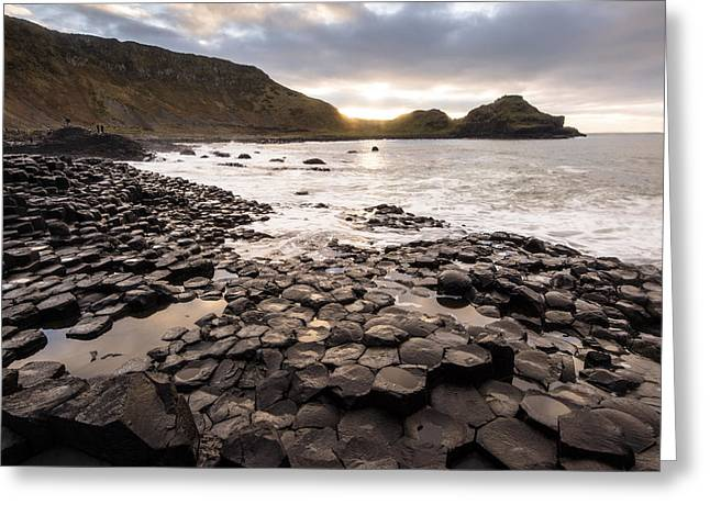 Fionn Mac Cumhaill Greeting Cards - Giants Causeway into the Sun Greeting Card by Euan Cherry