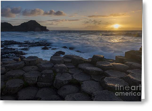Colorful Cloud Formations Greeting Cards - Giants Causeway Sunset Greeting Card by Brian Jannsen