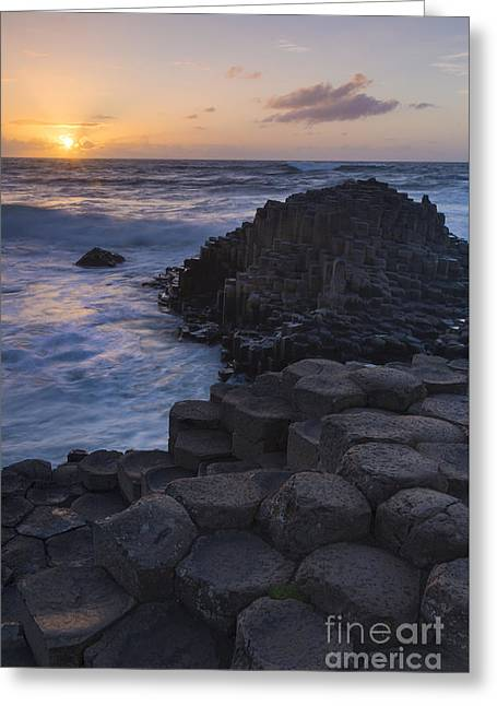 Colorful Cloud Formations Greeting Cards - Giants Causeway Sunset II Greeting Card by Brian Jannsen