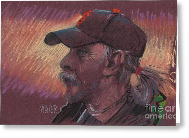Baseball Pastels Greeting Cards - Giants Fan Greeting Card by Donald Maier