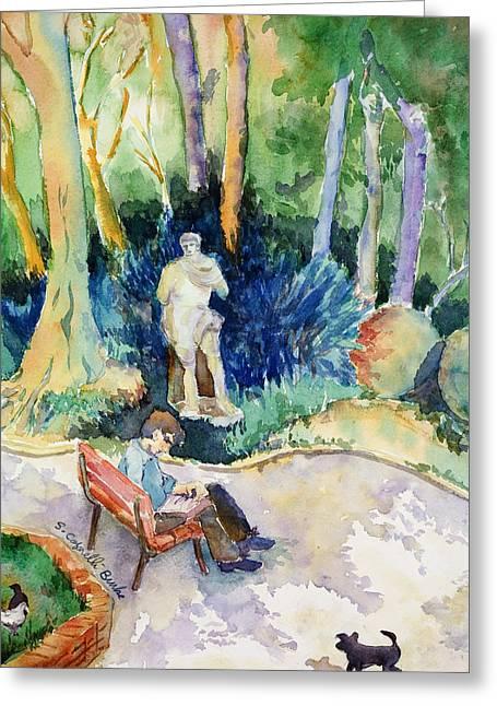 Park Scene Paintings Greeting Cards - Giardini Publici Greeting Card by Susan Cafarelli Burke
