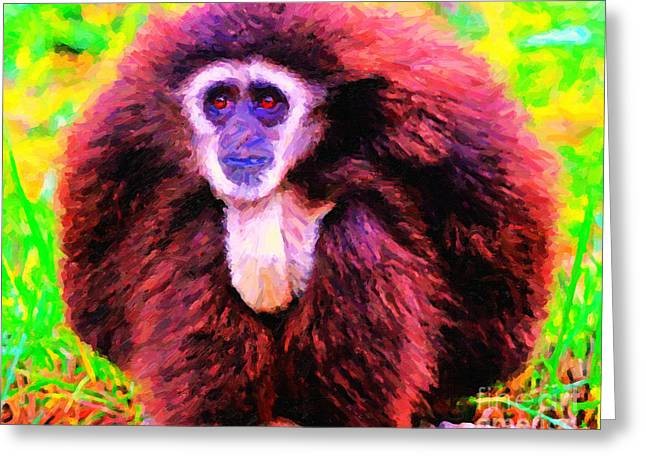 Ape Digital Greeting Cards - Gibbon . Photoart Greeting Card by Wingsdomain Art and Photography