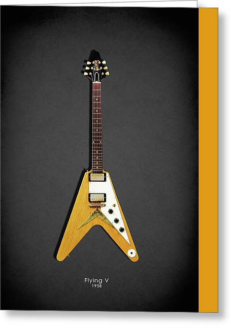 Gibson Flying V Greeting Card by Mark Rogan