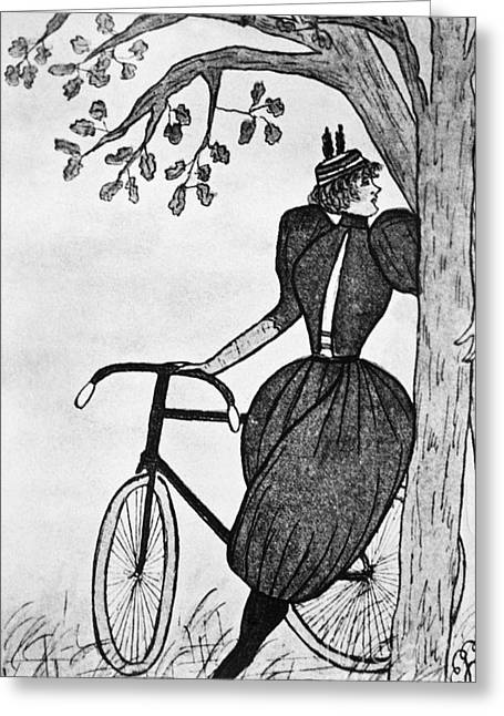 Pantaloons Greeting Cards - Gibson Girl: Bicycle Greeting Card by Granger
