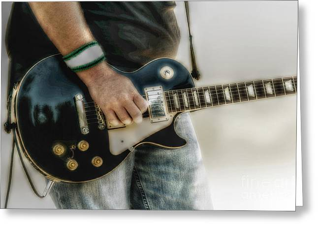 Gibson Les Paul Guitar Player Two Greeting Card by Randy Steele