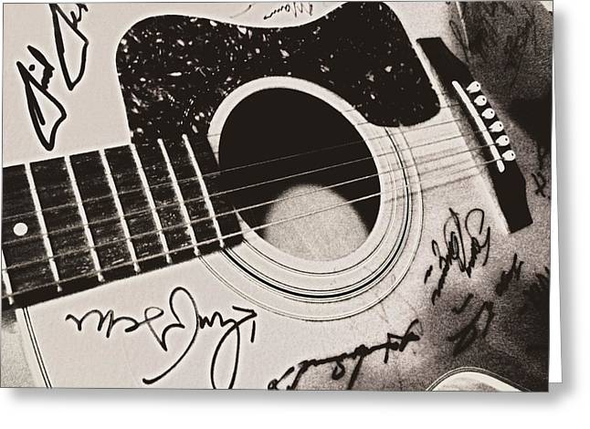 Autographed Guitars Greeting Cards - Gibson Or Gretch Greeting Card by JAMART Photography