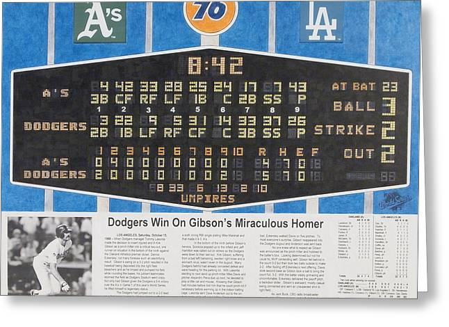 Los Angeles Dodgers Drawings Greeting Cards - Gibsons 1988 World Series Homer Greeting Card by Marc Yench