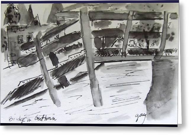Pen Greeting Cards - Giethoorn Bridge Greeting Card by Gary Kirkpatrick