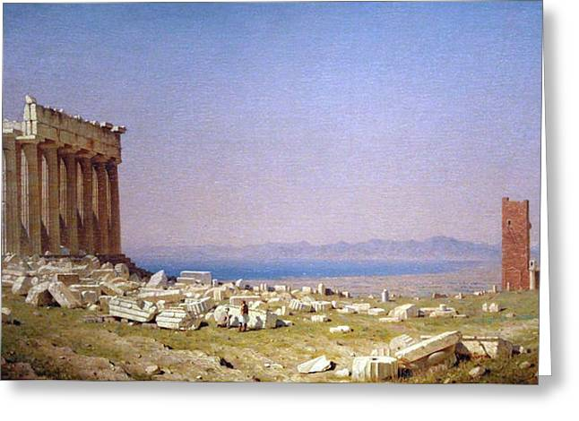 Photograph Of Painter Greeting Cards - Giffords Ruins Of The Parthenon Greeting Card by Cora Wandel