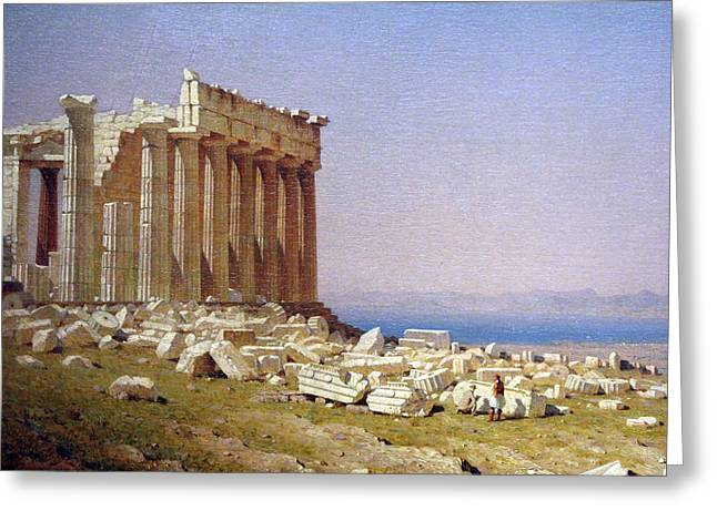 Photograph Of Painter Greeting Cards - Giffords Ruins Of The Parthenon Up Close Greeting Card by Cora Wandel
