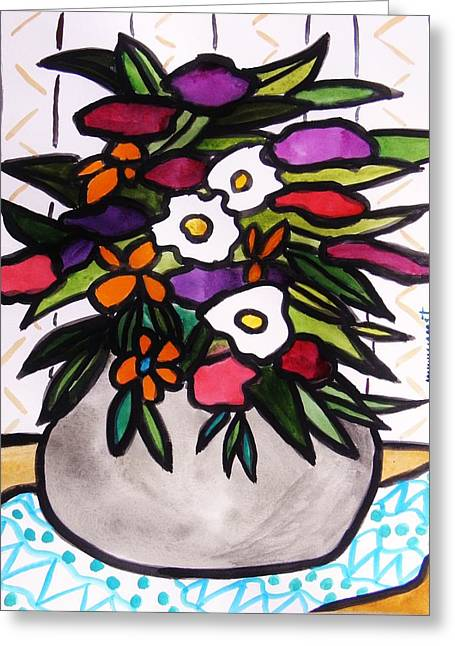 Gift In A Gray Vase Greeting Card by John  Williams