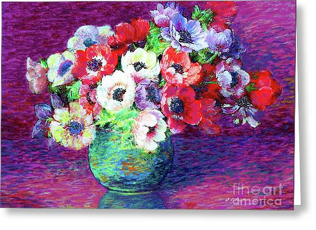 Gift Of Flowers, Red, Blue And White Anemone Poppies Greeting Card by Jane Small