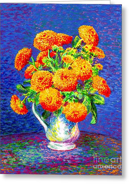 Bowl Of Flowers Greeting Cards - Gift of Gold Greeting Card by Jane Small