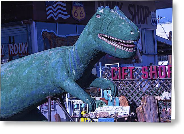 Dinosaurs Greeting Cards - Gift Shop Dinosaur Route 66 Greeting Card by Garry Gay