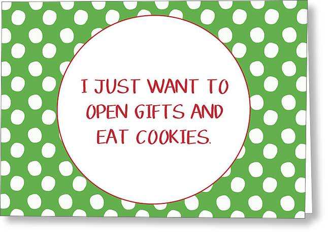Gifts And Cookies- Art By Linda Woods Greeting Card by Linda Woods