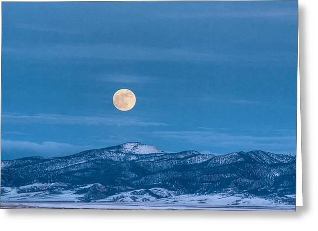 Man In The Moon Greeting Cards - Gigantic Moon Greeting Card by Linnet Long