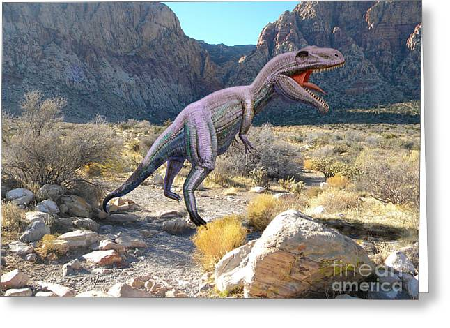 Dinosaurs Greeting Cards - Gigantosaurus In The Desert Greeting Card by Frank Wilson